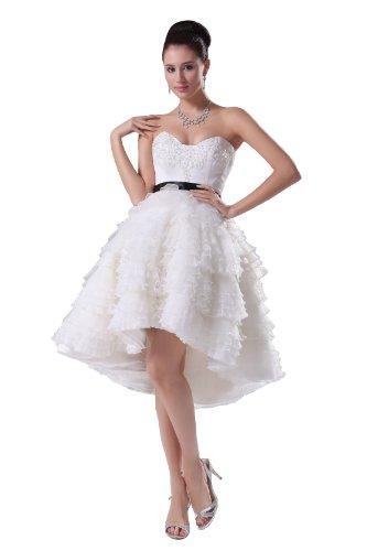 Elegant Girls' Strapless Sweetheart Empire Knee Length Tiered Prom Dress 4148 10 White