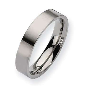 Titanium Flat 5mm Brushed Band, Size 10