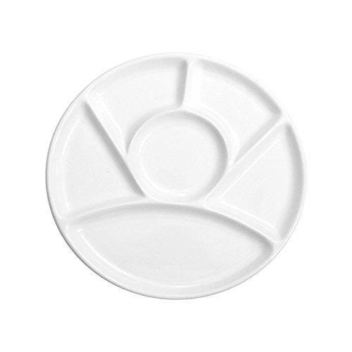 Home Assiette à fondue avec 6places, 26cm, Céramique, Blanc