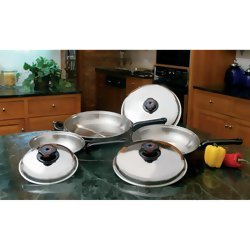 Precise Heat 6pc Stainless Steel Skillet Set with Steam Control Knobs