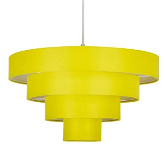 modern 4 tier yellow fabric ceiling pendant light shade