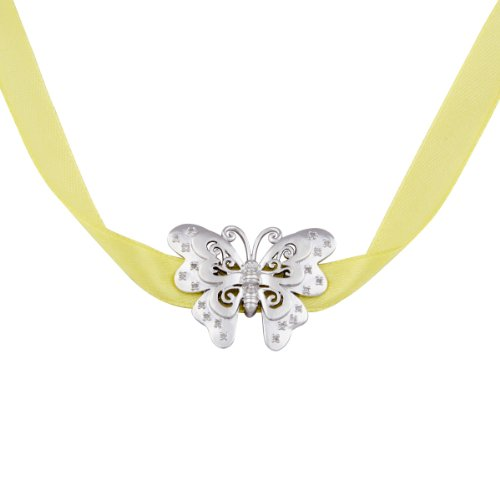 Sterling Silver Diamond Accent Butterfly with Yellow Lace Necklace, 28
