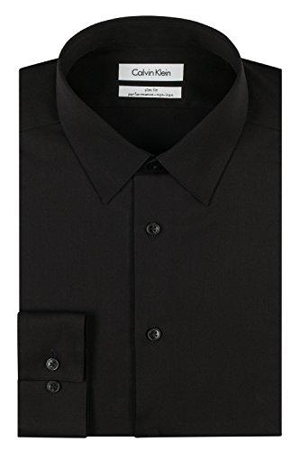 calvin-klein-mens-slim-fit-non-iron-herringbone-point-collar-dress-shirt-black-155-neck-32-33-sleeve