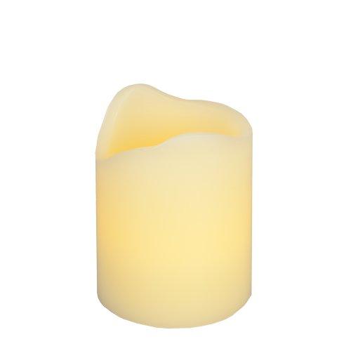 "Everlasting Glow Led Wax Melted Edge Pillar Candle, Ivory, 3"" X 4"""