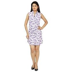 FASHION By The BrandStand Women Dress Wht-Prpl-M