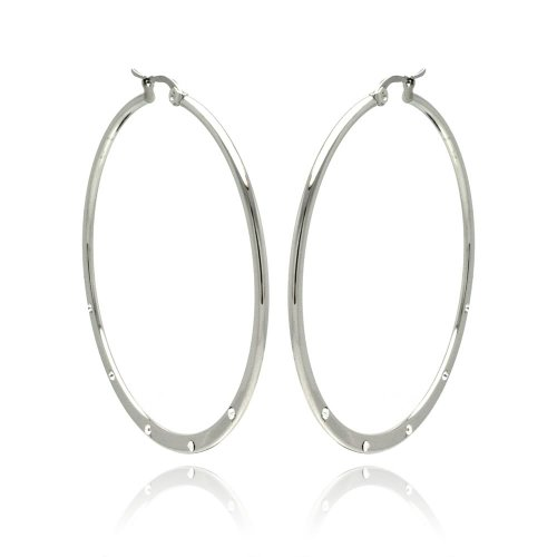 Stainless Steel CZ Cubic Zirconia Accented Hoop Earrings with Hinge and Notch Post for Women (50mm x 50mm x 1.5mm)