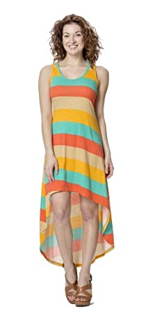 (74887R) Classic Designs Rugby Stripe Print Racerback Hi Lo Maxi Dress in Jersey Spun Spandex (Sizes S-4X) in Ivory Stripe Size: S
