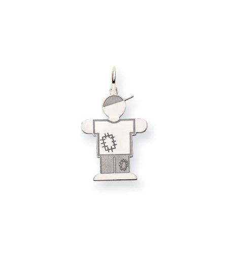 14k White Gold Boys Casual Patches T Shirt Jeans Charm