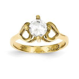 Genuine IceCarats Designer Jewelry Gift 10K Cz Polished Baby Ring Size 1.00