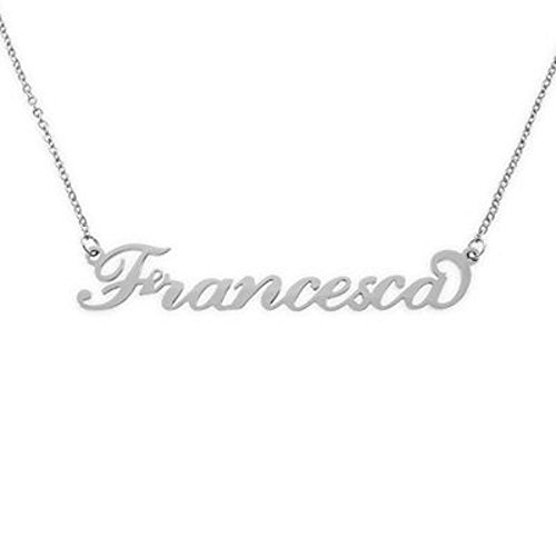 Acciaio : collana rolo' uomo donna con il tuo nome taglio laser (Francesca)