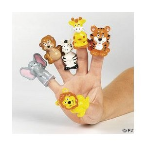 24 Safari Zoo Theme Finger Puppets by OTC