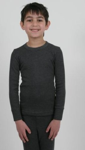 2 Boys Thermal Underwear Long Sleeve Vest Charcoal