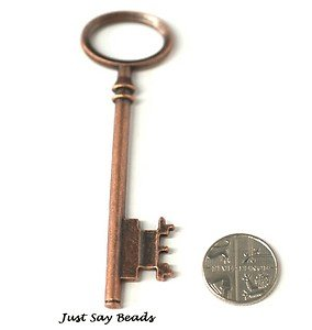 Very Large Red Copper Key Pendant Charm 80mm with Jumpring included for attachment. Universal use for Jewellery Making, Card Making and Scrap-Booking. Check out our Fantastic Wide Range of Beads, Charms and Findings. (Ref9B12)