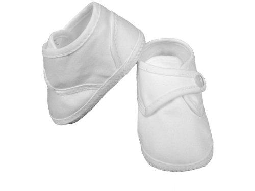 Boy's Cotton Shoe with Button Closure (Size 2/White)