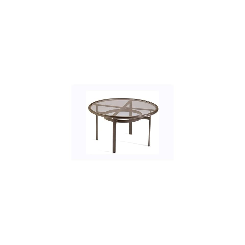 Tropitone Acrylic & Glass Cast Aluminum 42 Round Clear Top Patio Chat Table