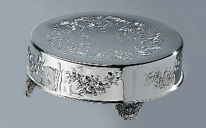 """Silver Plated 12"""" Roses Rose Wedding Cake Stand Plateau"""