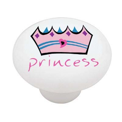 Princess Heart Crown High Gloss Ceramic Drawer Knob front-1075245