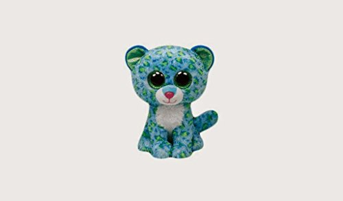 "6"" TY Beanie Boos Big Eyes Leona Blue Leopard Plush Doll Stuffed Animal Toy -1136742"