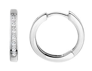 Huggie Hoop Diamond Earrings 1/10 ctw in 10K White Gold (1/2 Inch) by MyJewelryBox