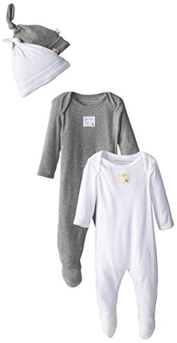 Burt'S Bees Baby Unisex Newborn 2 Bee Essentials Solid Footed Coveralls 2 Bee Essentials Solid Knot Top Hats - Heather Grey, Heather Grey, 3 Months front-964191