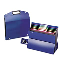 On the Go Desktop Stadium Style File, Six Pockets, Poly, Letter, Blue, Sold as 1 Each