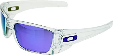 Oakley Fuel Cell Polished Clear/Matte Clear/Violet Iridium Lens Mens Sunglasses