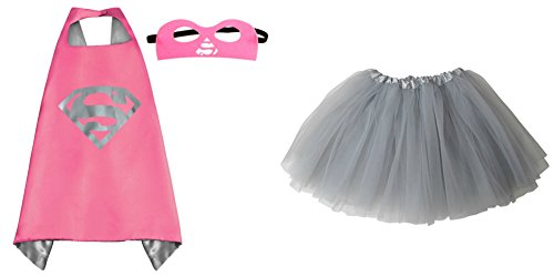 [Superhero or Princess TUTU, CAPE, MASK SET COSTUME - Kids Childrens Halloween (Supergirl II - Hot Pink &] (Supergirl Costumes Pink)