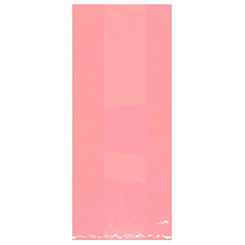 "Amscan Festive Large Cellophane Party Bags, 11-1/2 x 5 x 3-1/4"", New Pink"
