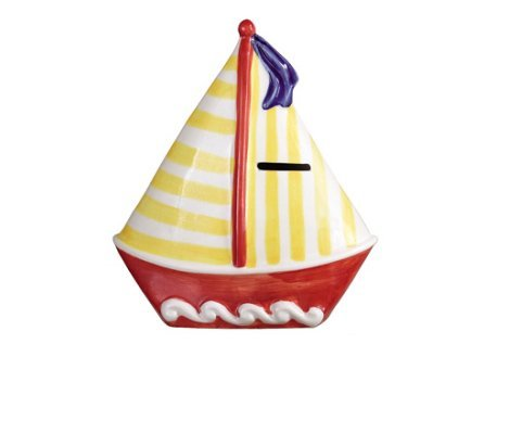 Sailboat Coin Bank, Red Hull with Yellow Striped Mast - 1
