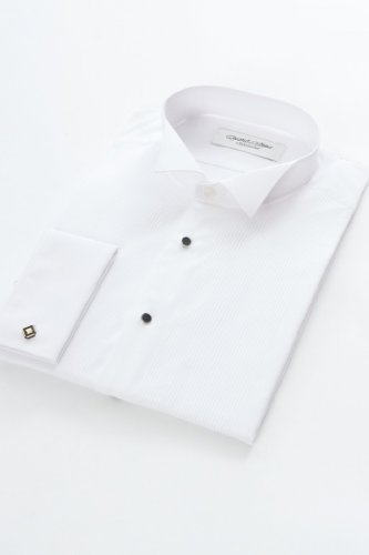 Pleated Dress Shirt Wing Collar 17 1/2inch Neck, White