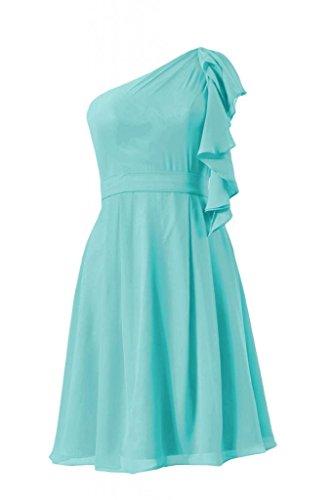 Daisyformals Cocktail One Shoulder Chiffon Bridesmaid Dress(Bm261)- Tiffany Blue