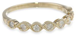 14k Yellow Gold Milgrain Diamond Band, Size 7