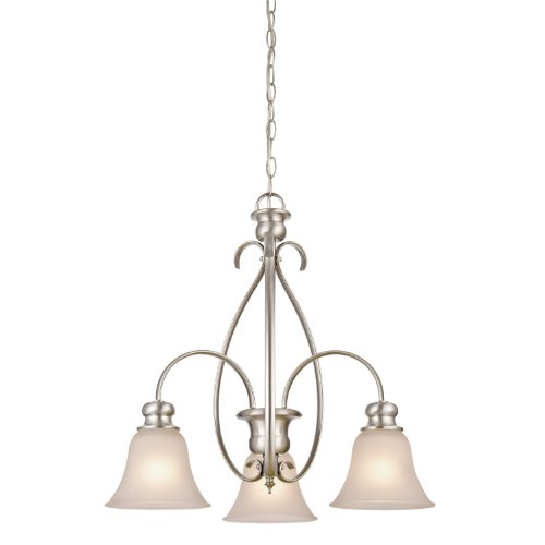 Westinghouse 6226500 Fontane Three-Light Interior Chandelier, Brushed Nickel Finish With Frosted Glass