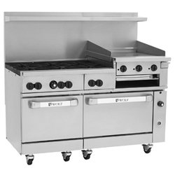Wolf C60-Sc-6B-24Gb-N 60€ Gas Open Burner/Griddle/Broiler Top Restaurant Range - Challenger