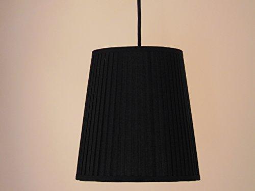 "Ikea Ekas Hanging Lamp Shade 9"" Black With Premium Black Fabric Wrapped Cord Set And Led E26 Bulb Included"