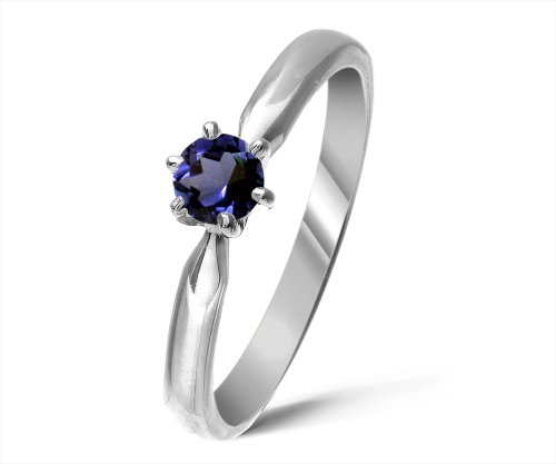 Modern 9 ct White Gold Ladies Solitaire Engagement Ring with Iolite 0.25 Carat