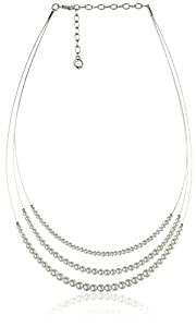 Anne Klein Silver Tone and Pearl Wire Coil Necklace
