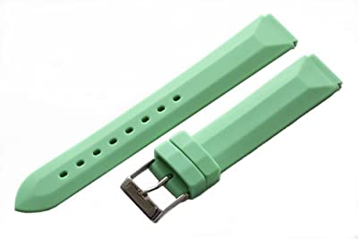 Green Rubber 20mm Watch Band Fits Philip Stein Large Size 2 (With Built in Quick Release Pins) !!!! by Clockwork Synergy, LLC