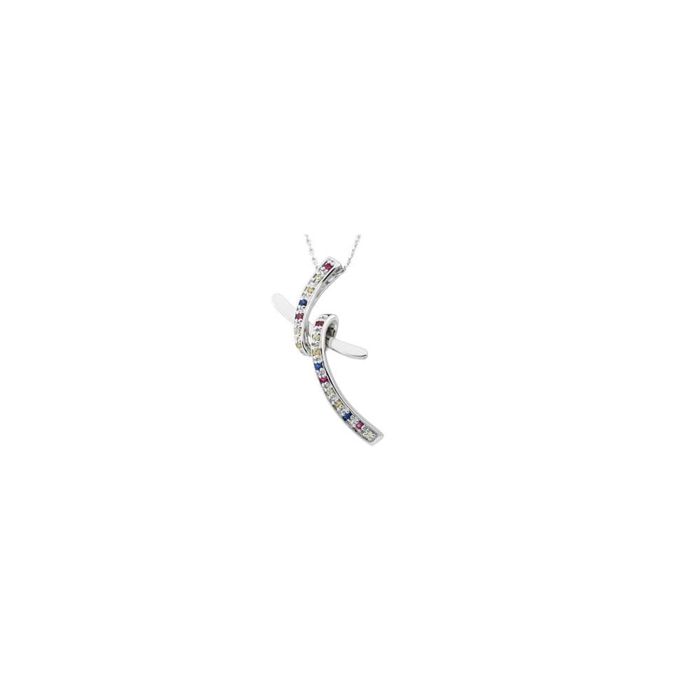 Sterling Silver DANCING WITH JOY CROSS PENDANT WITH STONES AND SS CHAIN Dancing With Joy Cross Pendant With Stones And Ster Chain