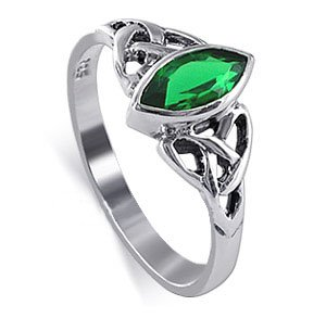 LWRS034-7 Sterling Silver Marquise Shaped 10 x 20mm Emerald Cubic Zirconia with Celtic Endless Knot Design Polished Finish 3mm Band Ring Size 7