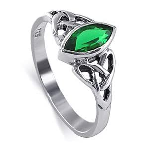 Sterling Silver Marquise Shaped 10 x 20mm Emerald Cubic Zirconia with Celtic Endless Knot Design Polished Finish 3mm Band Ring Size 4, 5, 6, 7, 8, 9