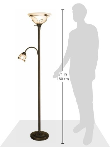Normande Lighting JM1-884 71-Inch 100-Watt Incandescent Torchiere Floor Lamp with 40-Watt Side Reading Lamp 1