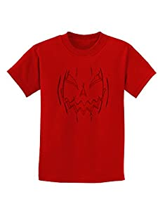 Scary Glow Evil Jack O Lantern Pumpkin Childrens T-Shirt - Red - XS
