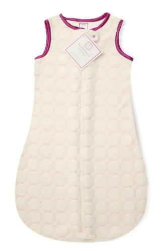 Swaddledesigns Zzzipme Sack With 2-Way Zipper, Cozy Microplush Wearable Blanket, Very Light Puff Circles In Very Berry 6-12 Months