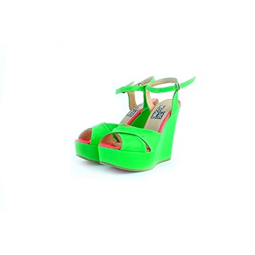 Sandali Love Moschino in vernice verde fluo, 38