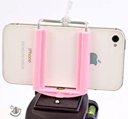 Cell Phone Tripod Adapter - iPhone Tripod Mount - 6 6S Plus 5 5S 5C 4 4s Clip Holder Connector Head Smartphone Attachment Samsung Galaxy S6 S5 S4 S3 S2 - Cell Phone Tripod Mount - DaVoice (Light Pink)