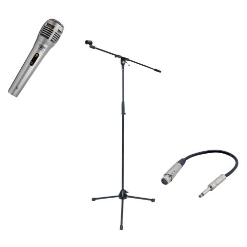 Pyle Mic And Stand Package - Pdmik1 Professional Moving Coil Dynamic Handheld Microphone - Pmks2 Tripod Microphone Stand W/Boom - Ppfmxlr01 12 Gauge 6 Inch 1/4'' To Xlr Female Cable
