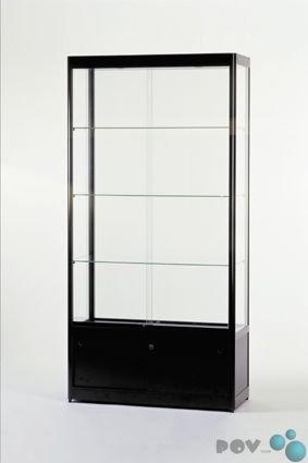 POV® Glasvitrine GPC 1000-O-schwarz RAL 9005 mit Unterschrank und Beleuchtung