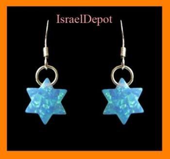Blue Opal Gemstone Magen David Star Earrings Sterling 925 Silver