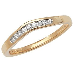9ct Yellow Gold Channel Set Diamond Soft Wishbone Eternity Ring 0.10ct